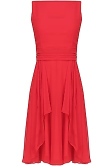 Crimson red retro flared dress by Swatee Singh
