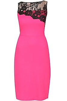 Fuchsia pink diagnolly panelled chantilly wiggle dress by Swatee Singh