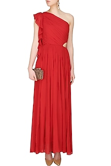 Crimson red one shoulder ruffled cutout maxi dress by Swatee Singh