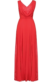 Crimson red floral lace one shoulder cowl neck flared gown by Swatee Singh