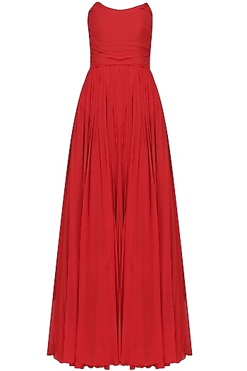 Crimson red tube pleated fit and flared gown by Swatee Singh