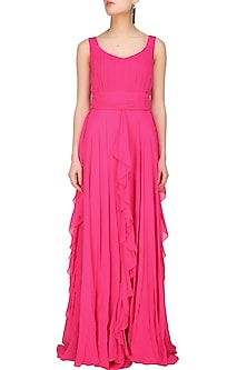 Fuchsia pink retro ruffled gown by Swatee Singh