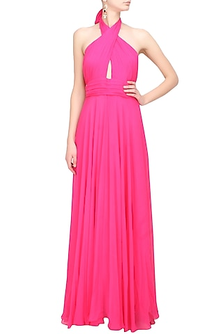 Fuschia pink pleated crossover flared gown by Swatee Singh