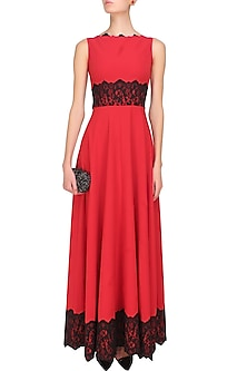 Crimson red and black lace applique work fay gown by Swatee Singh
