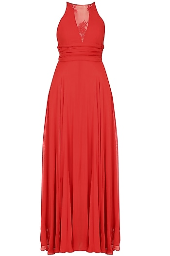 Crimson red sheer neck retro flared gown by Swatee Singh