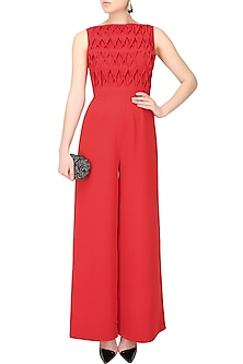 Crimson red rombo textured wide legged jumpsuit by Swatee Singh
