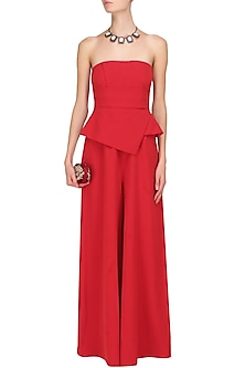 Crimson red tube panel with overlapped peplum jumpsuit by Swatee Singh