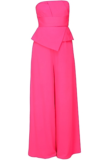 Fuchsia pink tube panel with overlapped peplum jumpsuit by Swatee Singh