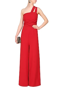 Crimson red double strap pleated wide legged jumpsuit by Swatee Singh