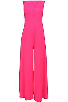 Fuchsia pink wide legged jumpsuit by Swatee Singh