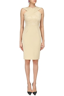 Beige Cross Neck Widggle Lace Dress by Swatee Singh