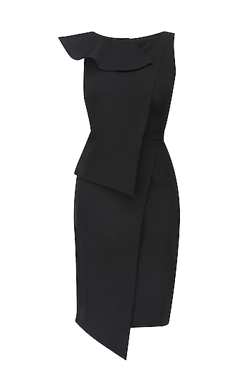 Black Overlapping Hem Ruffle and Peplum Dress by Swatee Singh