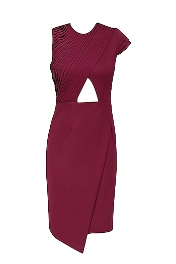 Maroon Cutout and Overlapping Hem Layered Dress by Swatee Singh