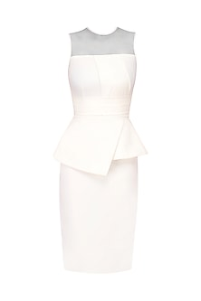 Ivory Sheer Neck Panelled Wiggle Dress by Swatee Singh