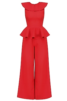 Crimson Round Neck Ruffled and Peplum Jumpsuit by Swatee Singh