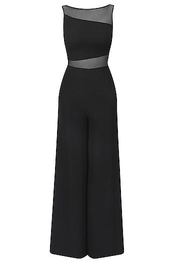 Black Sheer Detail Jumpsuit by Swatee Singh