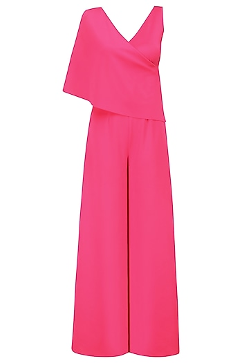Fuschia Pink Overlapping Cape Jumpsuit by Swatee Singh