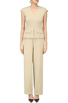 Beige Structured Peplum and Faux Pockets Jumpsuit by Swatee Singh