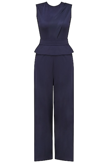 Navy Blue Peplum Detail Cutout Jumpsuit by Swatee Singh