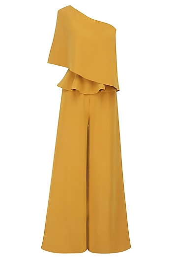 Mustard Yellow One Shoulder Cape Peplum Jumpsuit by Swatee Singh