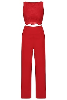 Crimson Boat Neck Lace Jumpsuit by Swatee Singh