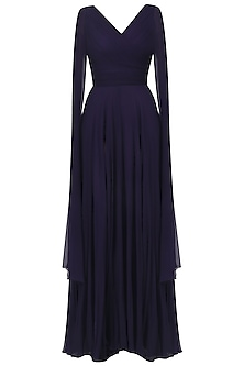 Navy Blue Overlapping Pleated Drape Gown by Swatee Singh