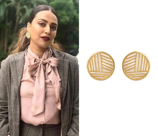 Gold Plated White MOP Stud Earrings by Varnika Arora