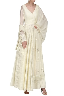 Ivory Angharka In Chanderi with Pallazo and Dupatta by Sawan Gandhi
