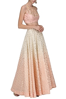 Chanderi Peach Top and Skirt Set by Sawan Gandhi