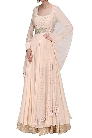 Peach Mukaish with Chanderi Skirt and Pearl Work Dupatta by Sawan Gandhi