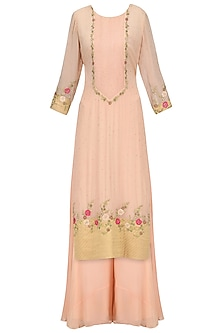 Georgette Peach Chandbali Work Straight Suit with Sharara by Sawan Gandhi