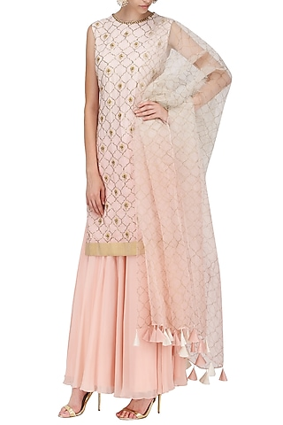 A Peach Crepe Stright Suit with Skirt and Dupatta by Sawan Gandhi