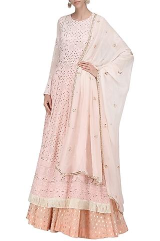 A Peach Chikan Anarkali with Chanderi Skirt and Georgette Dupatta by Sawan Gandhi