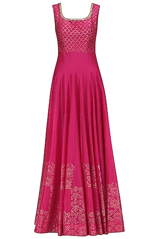 Hot Pink Chanderi Anarkali by Sawan Gandhi