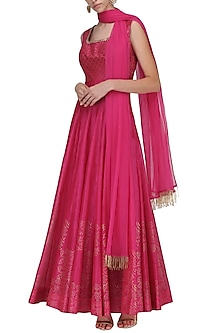 Hot Pink Chanderi Anarkali by Sawan Gandhi