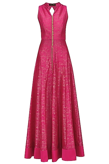 Hot Pink Chanderi Cape with Pallazo by Sawan Gandhi