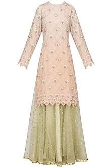 Peach Piyali and Resham Boote Short Skirt In Chanderi with Net Dupatta by Sawan Gandhi