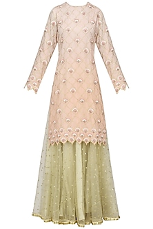 Peach Piyali and Resham Boote Short Skirt In Chanderi with Net Dupatta by Sawan Gandhi