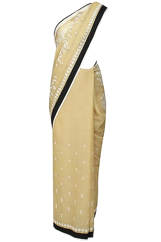 Gold and off white floral embroidered saree and quilted blouse set by SWGT By Shweta Gupta