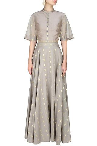 Ash grey zari motifs high waisted skirt and crop top set by SWGT By Shweta Gupta