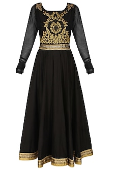 Murky black handcut mtoifs kalidaar kurta and churidaar pants set by SWGT By Shweta Gupta