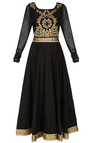 Murky black handcut mtoifs kalidaar kurta and churidaar pants set by SWGT By Shweta Gupta