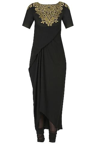 Black handcut motif murky drape kurta and churidaar pants set by SWGT By Shweta Gupta