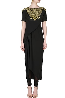 Black handcut motif murky drape kurta and churidaar pants set by SWGT By Shweta Gupta