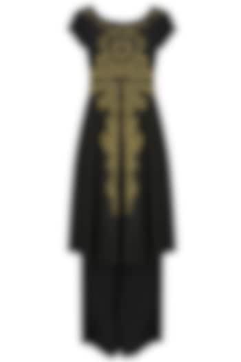Black handcut motif back earthen gilden tunic and pants set by SWGT By Shweta Gupta