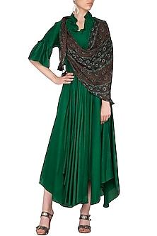 Emerald Green Maxi Dress With Scarf by Swati Jain