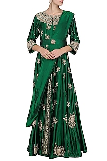 Green Embroidered Anarkali Gown by Swati Jain