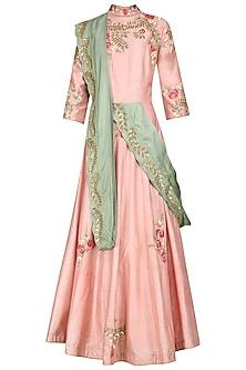 Pink Floral Print Anarkali Gown by Swati Jain