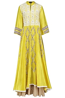 Yellow Embellished Anarkali Gown by Swati Jain