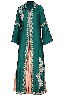 Blue Embroidered Jacket with Peach Tunic by Swati Jain